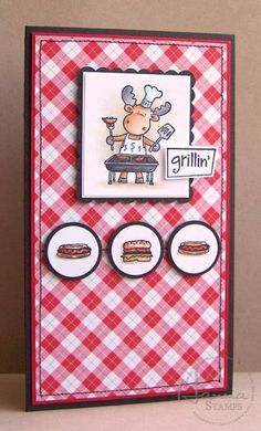 I created this card using the recently released BBQ Riley from Hanna Stamps and this week's sketch from Card Positioning Systems (which happens to be sponsored this week by Hanna Stamps).   I tried to keep it clean and simple....it's a BBQ afterall! :)  Thanks for looking! [url=http://paperfuntastics.blogspot.com/2009/06/grill-master.html]My Blog[/url]