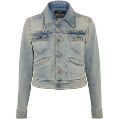 Roberto Cavalli Embroidered studded denim jacket (€1.505) ❤ liked on Polyvore featuring outerwear, jackets, mid denim, colorful denim jackets, denim jacket, embroidered jean jacket, jean jacket and white jacket