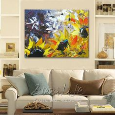 Find More Painting & Calligraphy Information about Flower hand painted wall painting palette knife wild flower abstract oil painting canvas modern room decorates living room,High Quality canvas skull,China canvas mary jane shoes Suppliers, Cheap canvas large from Eazilife Oil Painting on Aliexpress.com