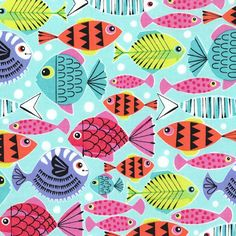 Michael Miller Fabric -School's Out in Turquoise - Pets a Plenty - High Density Cotton - By The Yard by PKFabulousFabric on Etsy Tissu Michael Miller, Michael Miller Fabric, Kids Prints, Fun Prints, Fabric Patterns, Print Patterns, Fabric Fish, Paper Fish, Fish Illustration