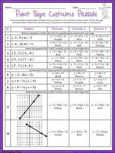 This activity provides Algebra students with a fun way to practice or review Point Slope Form around Halloween - or any time of year! Students solve given problems and their answer determines what color they use to fill in the next page. Great for homework, after a test or just a fun break in class! Answer key included.