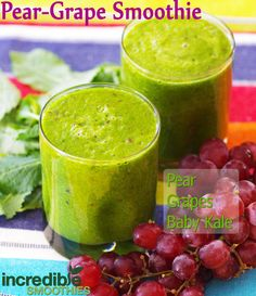 This smoothie is 2 pears, 1 cup red grapes, 3 cups baby kale and 8 ounces of water.  http://www.incrediblesmoothies.com/