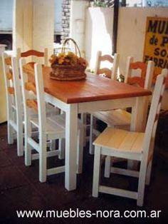 Mesa de campo con sillas recicladas a nuevo medidas: 1.40 x 0.80 x ...