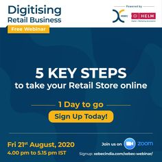 Take your retail store to the next level. Get to know the 5 key steps to take your business online, improve revenue and get new customers. If you are in the business of jewellery, apparel, FMCG, consumer durables retail, F&B, real estate, dealer/distributor, healthcare, retail or manufacturing, join us for a free webinar on Digitising Retail Business on 21st August 2020, 4.00 pm to 5.15 pm IST. Click here to register Marketing Automation, Advertising Agency, Family Business, Pune, Online Business, Health Care, 21st, Join, Real Estate