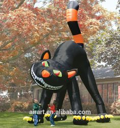 large inflatable Halloween black cat lawn decoration