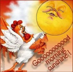 Good Morning Sunshine is a picture of a Rooster and Sun! Remember the early bird catches the worm! So get the coffee and breakfast going! Good Morning Picture, Good Morning Good Night, Morning Pictures, Morning Wish, Good Morning Images, Gd Morning, Monday Morning, Morning Prayers, Morning Messages