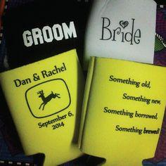 John Deere #wedding in the works...Dan & Rachel just got married this past weekend, congrats are in order! #koozies