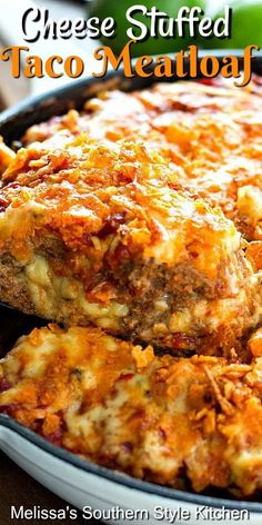 Take meatoaf to another level with this Cheese Stuffed Taco Meatloaf. Seasoned ground beef stuffed with pepper-jack cheese makes a homestyle fiesta. Beef Casserole Recipes, Casserole Dishes, Meat Recipes, Mexican Food Recipes, Cooking Recipes, Dinner Recipes, Taco Meatloaf, Cheese Stuffed Meatloaf, Mexican Meatloaf