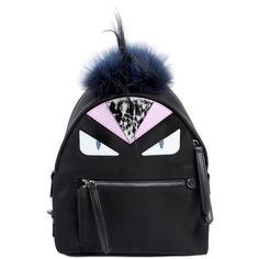Fendi Women Mini Monster Animation Backpack W/ Fur (15,200 EGP) ❤ liked on Polyvore featuring bags, backpacks, black, fur bag, zipper bag, zip bags, fendi backpack and chain bag