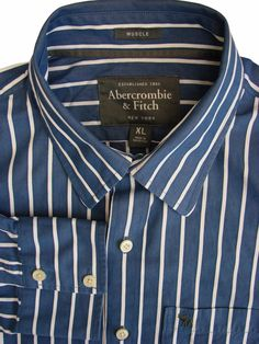 ff209889e ABERCROMBIE & FITCH Shirt Mens 17 XL Blue - White Stripes MUSCLE - £24.99
