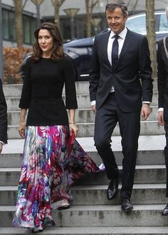 On March 24, 2017, Crown Prince Frederik and Crown Princess Mary participated in gala dinner that held on the occasion of Copenhagen Business School's centenary anniversary in the Kiln Hall at Porcelænshaven in Frederiksberg, Denmark.