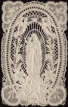 Mary Mother of God paper lace Christmas postcard