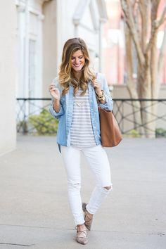 white jeans // chambray shirt with stripes //