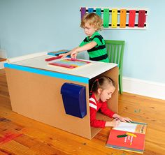 Make This Fun Toddler Play Desk With 2 Boxes and 6 Binder Clips by Handmade Charlotte