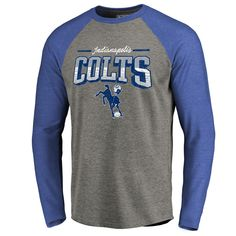 Indianapolis Colts NFL Pro Line by Fanatics Branded Throwback Collection  Season Ticket Long Sleeve Tri-Blend Raglan T-Shirt - Heathered Gray Royal f5b7a82ca