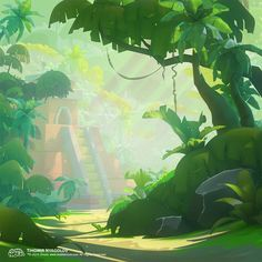 ArtStation Jungle from Bubble NOVA Game, Tihomir Nyagolov is part of Game concept art - Landscape Concept, Fantasy Landscape, Landscape Art, Fantasy Art, Cartoon Background, Animation Background, Art Background, Environment Concept Art, Environment Design