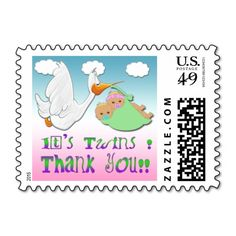 Boy and Girl Twins 2 - Stork Baby Shower Thank You P Postage Stamps