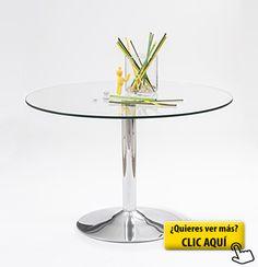 Mesa de comedor redonda Básica con pie de metal... #mesa #redonda