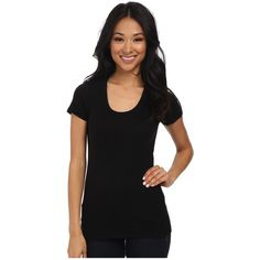 Splendid 1x1 Rib Scoop Tee Women's T Shirt ($46) ❤ liked on Polyvore featuring tops, t-shirts, t shirts, scoop neck top, scoop t shirt, short sleeve tee and scoop neck tee