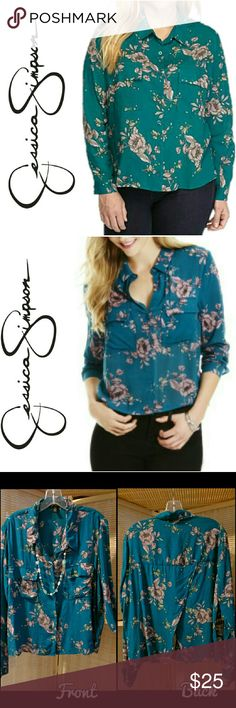 "Teal Collared Top with Flowers Jessica Simpson's Mirren Top is sophisticated, lightweight blouse that highlights your free-spirited style, whether wearing to the office or on a night out. This blouse is functional and comfortable. The back has a cute cut-out that fits ""flowy"".  The color of this top is teal with very light pink flowers, and very light green leaves. The outline of flowers and leaves in black.   ** Necklace pictured is NOT included. Jessica Simpson Tops Blouses"