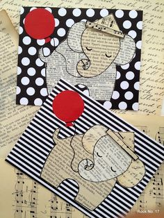 Ephemera Elephant Card Tutorial and Template ~ An easy and adorable scrap paper craft!