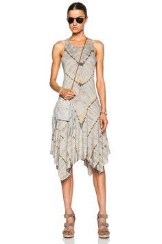 Image 5 of Raquel Allegra Handkerchief Cotton-Blend Tank Dress in Grey Tie Dye