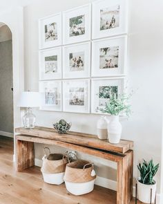 modern farmhouse foyer design with rustic bench and wall gallery, neutral farmhouse hallway d. modern farmhouse foyer design with rustic bench and wall gallery, neutral farmhouse hallway decor, fixer upper bench and. Hallway Decorating, Entryway Decor, Decorating Ideas, Entryway Flooring, Entryway Wall Decor, Decorating With White Walls, Decorating Foyers, Decorating A Large Wall In Living Room, Interior Decorating