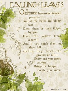 """Have you ever played the Falling leaves game? """"Catch them as the flutter by you..."""""""