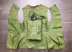 Leather bag with olive green felt lining, made of the sleeves of an old jacket
