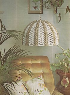 1970s Reflections MACRAME Lamp Shade  Instant by TheMysticStitch