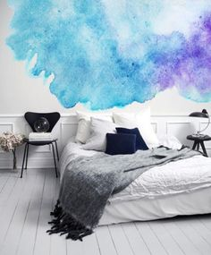 Watery Watercolor Blue and Purple Adhesive Wallpaper