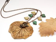 Fall clay leaf necklace-Autumn golden lizard by YarinkaHobbie