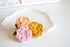 Girl Flower Headband - Trio of Roses in Peach, Mustard and Pastel Pink Skinny Headbands, Baby Headbands, Elegant Flowers, Your Girl, Pastel Pink, Fresh Fruit, Fruit Salad, Hair Clips, Wool Blend