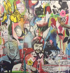 British artist Dan Baldwin bridges the gap between abstract and figurative painting to create a landscape that simultaneously reflects reality, the power of the imagination and the private, inner workings of his mind. Dan Baldwin, Canvas Signs, Mixed Media Canvas, Banksy, Figure Painting, Contemporary Artists, Collage Art, Printmaking, Street Art