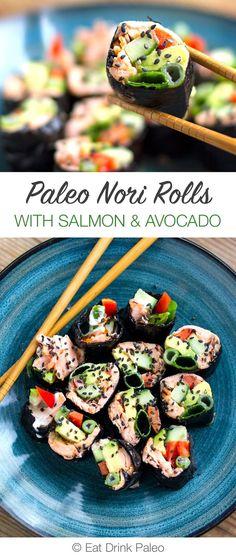 Salmon and Avocado Nori Rolls (Paleo Sushi) | http…