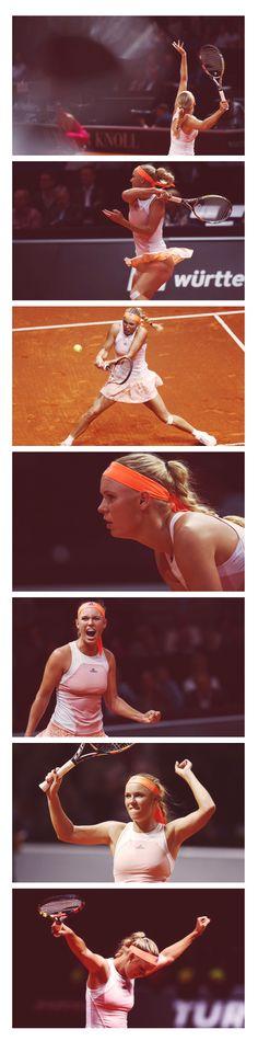 Caroline #Wozniacki at the Stuttgart Porsche Tennis Grand Prix. Get her look here: http://www.tennis-warehouse.com/player.html?ccode=CWOZNIACKI