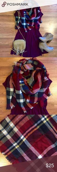 Red and navy plaid tartan blanket scarf Burgundy red and navy plaid blanket scarf. Super warm and cozy. Soft material, frayed edge. Great for upcoming season. Very versatile! Brand new, great condition! OPEN TO OFFERS! DISCOUNTS ON BUNDLES! Zara Accessories Scarves & Wraps