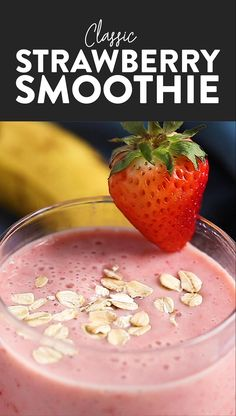 Healthy Strawberry Smoothie Wake up to this refreshing Strawberry Smoothie recipe. With just 4 basic ingredients you can have cafe-worthy healthy strawberry smoothie ready to go! Smoothie Recipes With Yogurt, Smoothie Recipes For Kids, Protein Smoothie Recipes, Smoothies For Kids, Healthy Breakfast Smoothies, Easy Smoothies, Healthy Recipes, Fruit Smoothies, Healthy Drinks