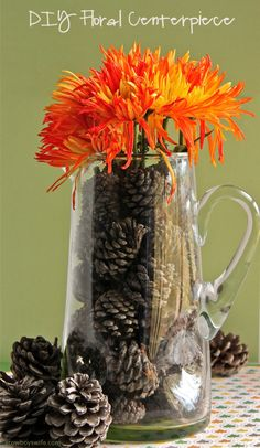 DIY Fall Floral Centerpiece at acowboyswife.com