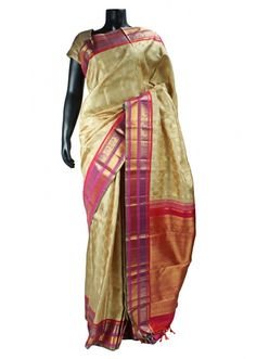 Cream Party Wear Pure Kanchipuram Real Zari Saree with Pink Blouse