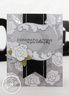 Dawn Woleslagle for Wplus9 featuring Damask Delight stamps and dies, Label Layers 2 die and Mother's Day Bouquet stamps.