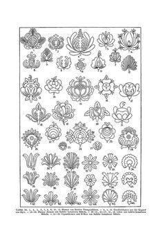 Folk Embroidery Patterns Free Clip Art and Digital Collage Sheet - Magyar Ornament Hungarian Embroidery, Folk Embroidery, Learn Embroidery, Japanese Embroidery, Beaded Embroidery, Embroidery Stitches, Flower Embroidery, Hungarian Tattoo, Mexican Embroidery