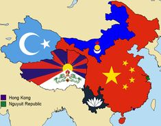 Map of the various separatist movements in China and their claimed territories Alternate Worlds, Alternate History, British Empire Flag, Hong Kong People, Asian Continent, Geography Map, China Map, Country Maps, Fantasy Map