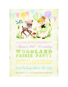 Digital PRINTABLE Vintage Woodland Fairy Girl Deer Bird Celebrate Birthday Tea Party Daughter Princess Children Banner Invitation Cards IN25. $10.00, via Etsy.