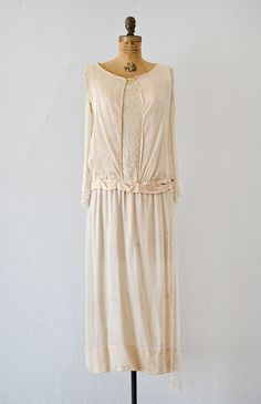 vintage 1920s crepe silk lace sleeve wedding dress