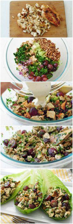 Pecan Chicken Salad Recipe ~ this has a light yogurt dressing... So much goodness – you will loooooooove this.