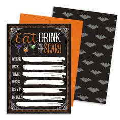 Eat, Drink, and Be Scary - Halloween Party Invitations with Envelopes (Set of 25)