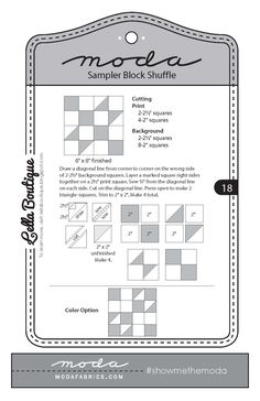 Moda Sampler Block Shuffle - Block #18 by Lella Boutique.