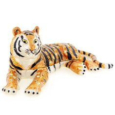 Tiger Trinket Box With Swarovski Crystal