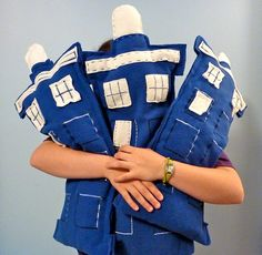 What should you get the man whose groom's cake was shaped like a Tardis?!?  A Tardis Pillow!!